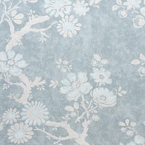 Tela de estilo floral estampado en color azul Claudette F910815