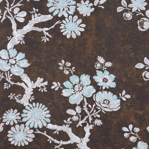 Tela de estilo floral estampado en color marrón Claudette F910817
