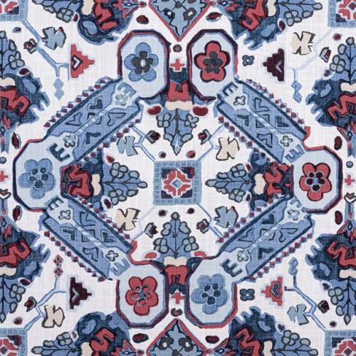 Tela de estilo estampado varios en tonos de color azul Persian Carpet F910824