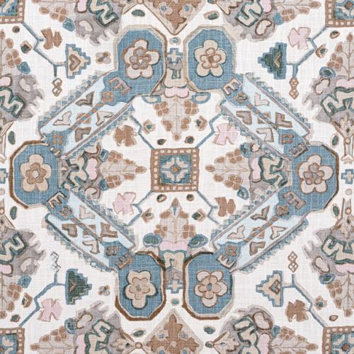 Tela de estilo estampado varios en azul pastel Persian Carpet F910825