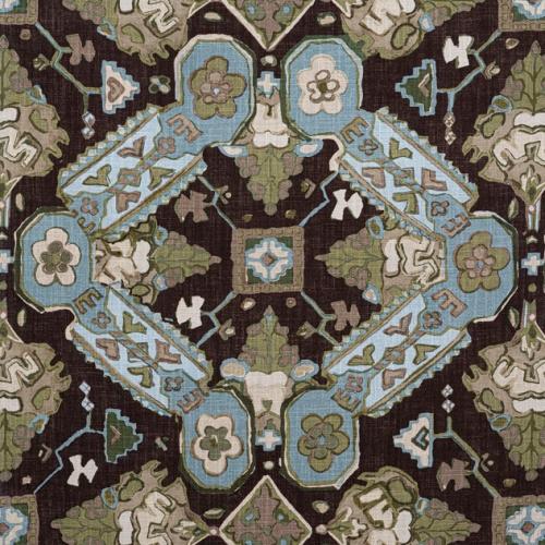 Tela de estilo estampado varios en tonos verde y azul Persian Carpet F910826