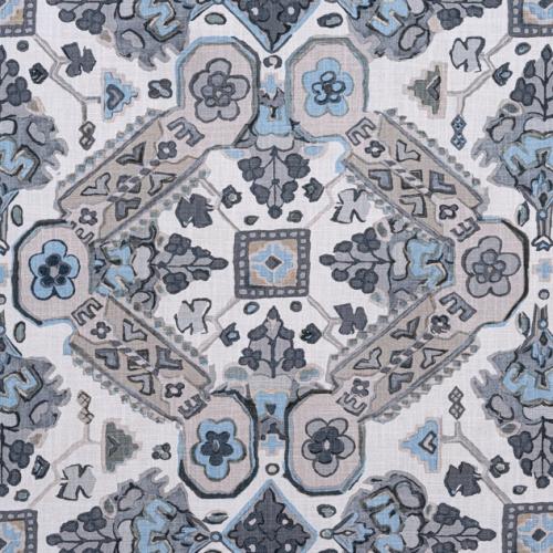 Tela de estilo estampado varios en tonos de color azul Persian Carpet F910828