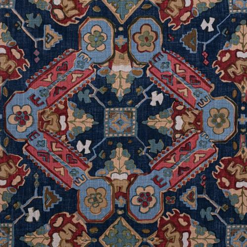 Tela de estilo estampado varios en tonos de color azul y rojo Persian Carpet F910829