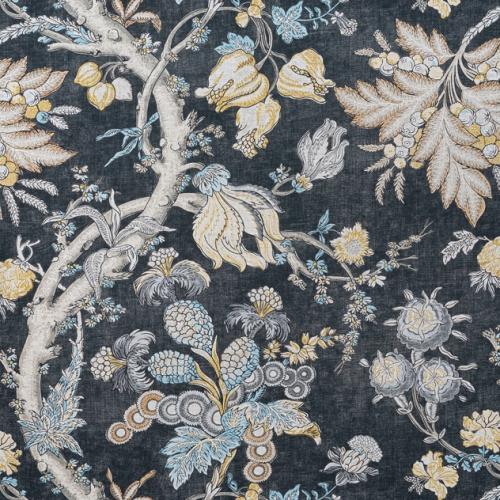 Tela de estilo floral estampado en color negro Chatelain F910842