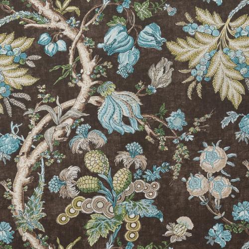 Tela de estilo floral estampado en color marrón Chatelain F910843