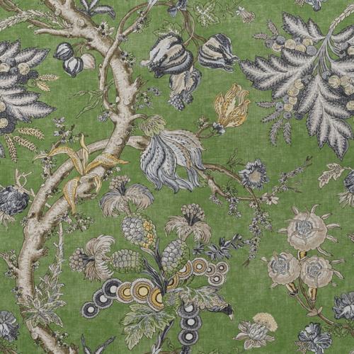 Tela de estilo floral estampado en color verde Chatelain F910844