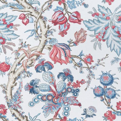 Tela de estilo floral estampado en tonos de color azul y rojo Chatelain F910845