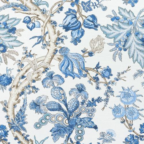 Tela de estilo floral estampado en tonos de color azul Chatelain F910846