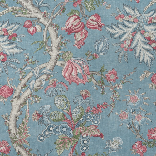Tela de estilo floral estampado en color azul Chatelain F910847
