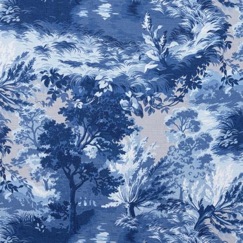 Tela de estilo escenas en tonos de color azul Lincoln Toile F910864