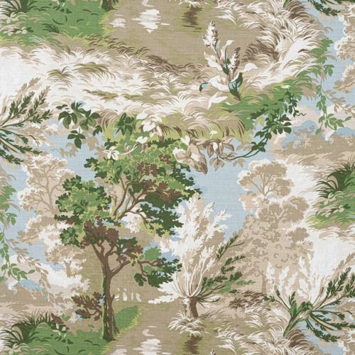 Tela de estilo escenas en tonos de color verde Lincoln Toile F910866