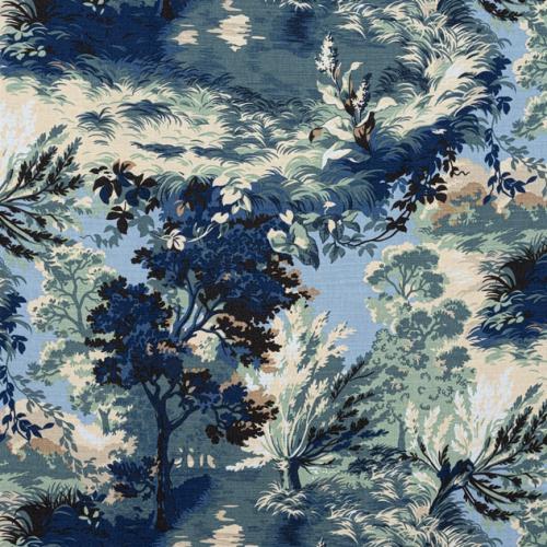 Tela de estilo escenas en tonos de color azul y verde Lincoln Toile F910867