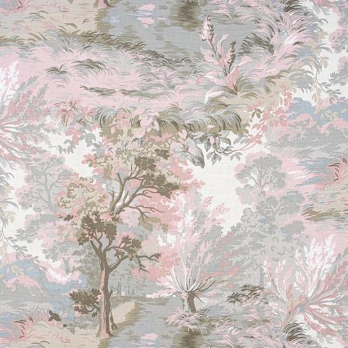 Tela de estilo escenas en tonos de color rosa y marrón Lincoln Toile F910868